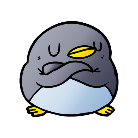 Hand drawn cartoon penguin with crossed arms