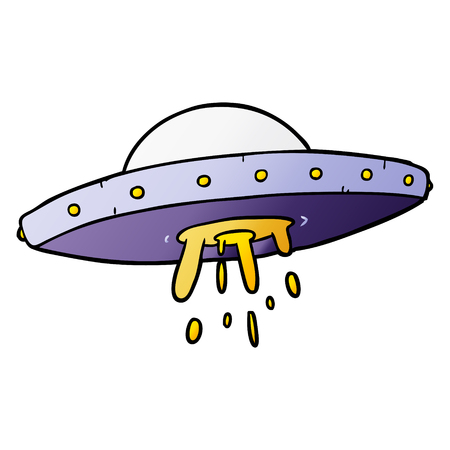 Hand drawn cartoon flying UFO