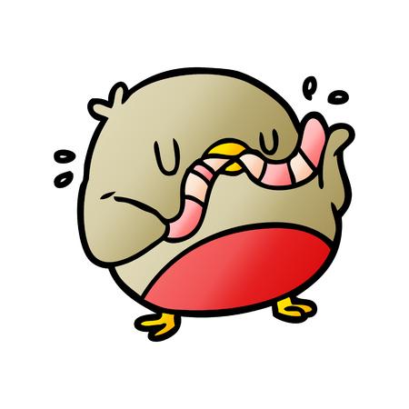 漫画の鳥を食べるワーム