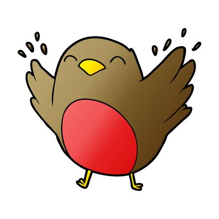 Hand drawn cartoon robin flapping wings