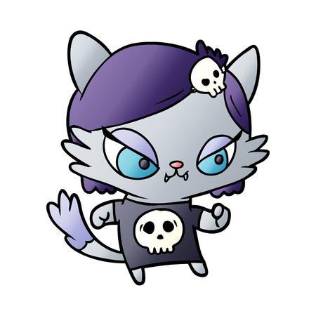 手描きかわいい漫画タフな猫の女の子  イラスト・ベクター素材