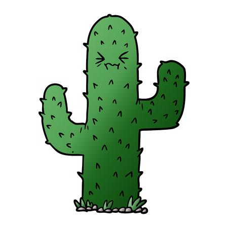 Hand drawn cartoon cactus