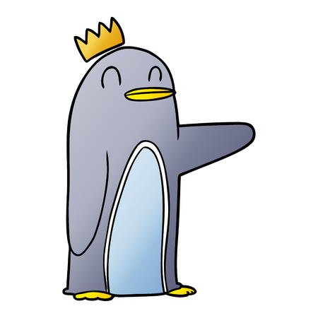 Hand drawn cartoon emperor penguin