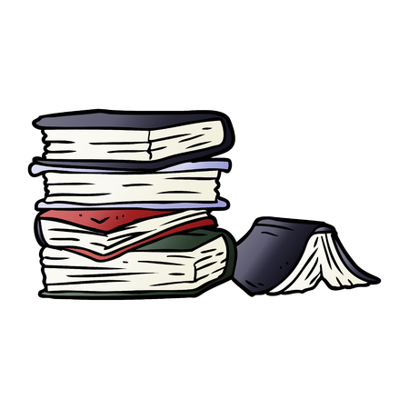 Hand drawn cartoon pile of books