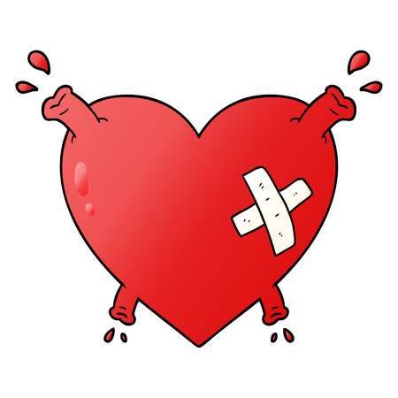 Hand drawn cartoon heart squirting blood Illusztráció