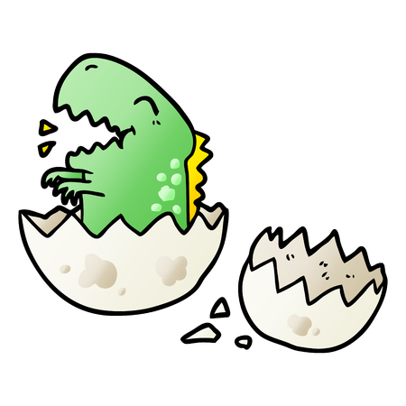 Cartoon dinosaur hatching from egg