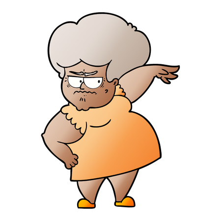 Cartoon angry old woman Illustration