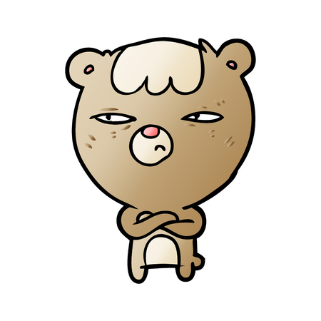 Hand drawn cartoon annoyed bear with arms crossed Illustration