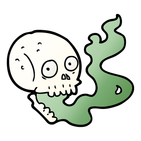 Hand drawn cartoon haunted skull Illustration