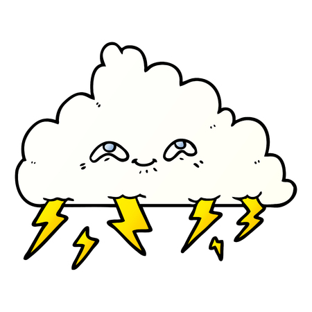 Hand drawn cartoon thundercloud Çizim