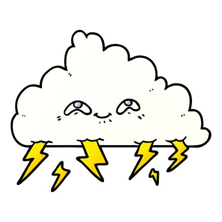Hand drawn cartoon thundercloud Illustration