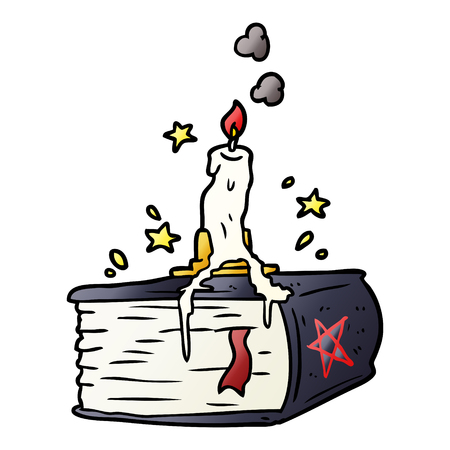 Hand drawn cartoon spooky spell book with dribbling candle Ilustração