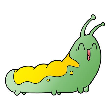 Hand drawn funny cartoon caterpillar