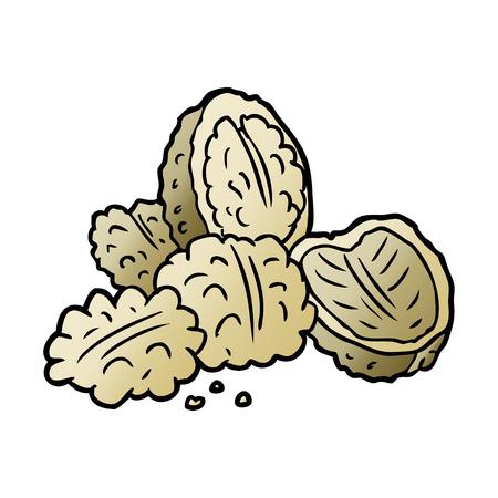 Hand drawn cartoon walnuts Ilustrace