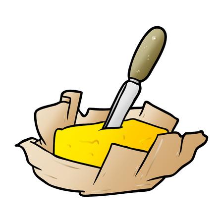 Hand drawn cartoon traditional pat of butter with knife Ilustração