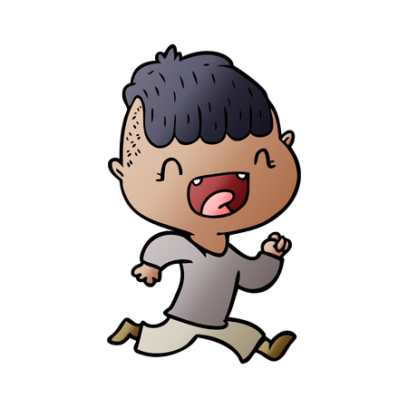 Hand drawn cartoon happy boy laughing and running away