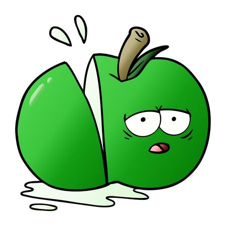 손으로 그린 만화 얇게 썬된 사과 일러스트