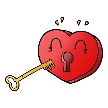 Hand drawn cartoon heart with key