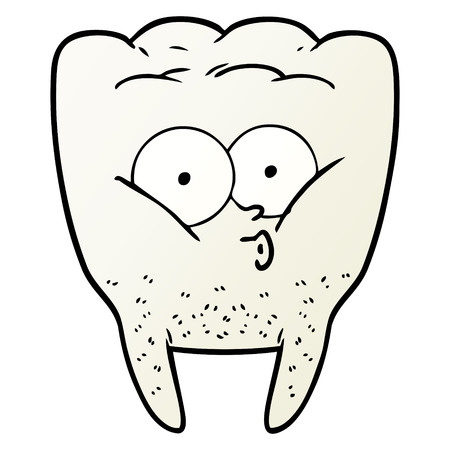 Hand drawn cartoon whistling tooth