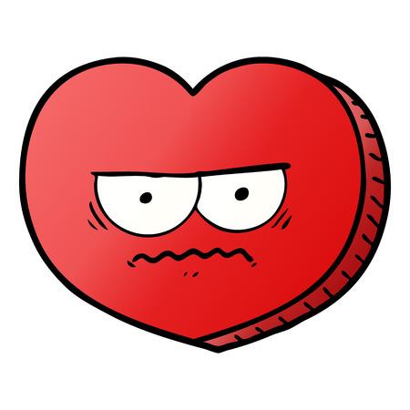 Hand drawn cartoon angry heart
