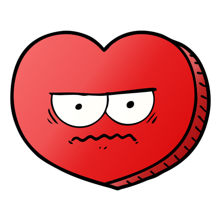 Hand drawn cartoon angry heart