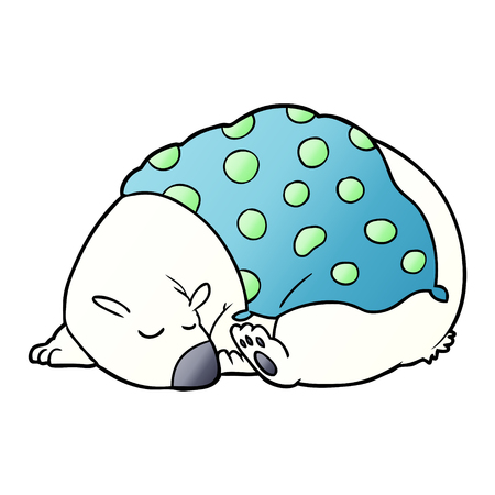 Hand drawn cartoon polar bear sleeping
