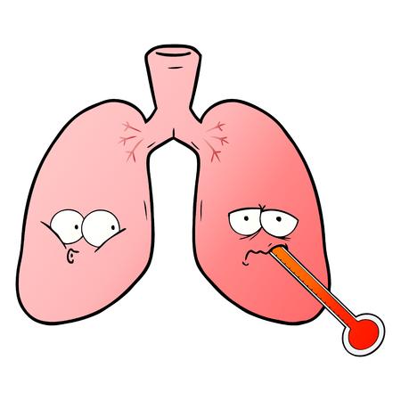 Hand drawn cartoon unhealthy lungs