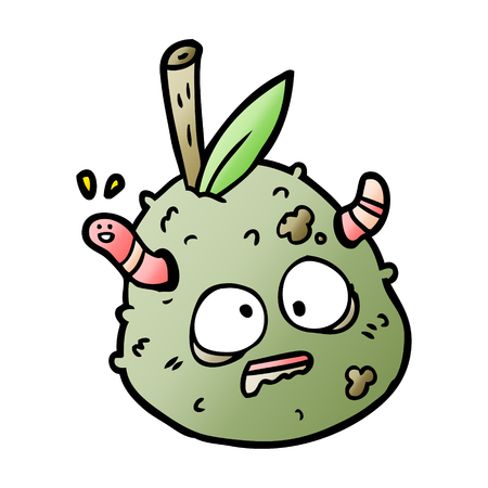 Hand drawn cartoon rotting old pear with worm Vectores