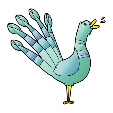 Hand drawn cartoon crowing peacock