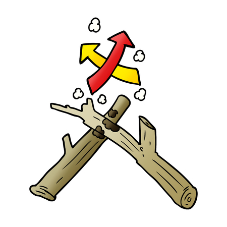 How to start a fire with two sticks illustration