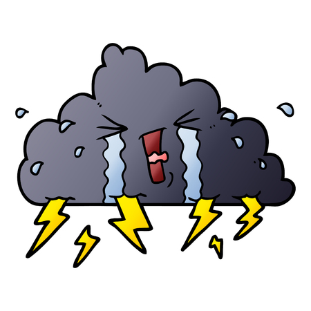 Hand drawn cartoon thundercloud Illustration