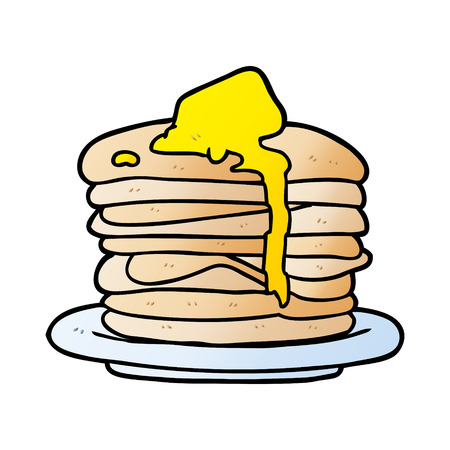 Hand drawn cartoon stack of pancakes Stock Illustratie