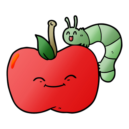Hand drawn cartoon apple and bug