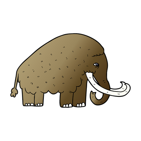 Hand drawn cartoon mammoth