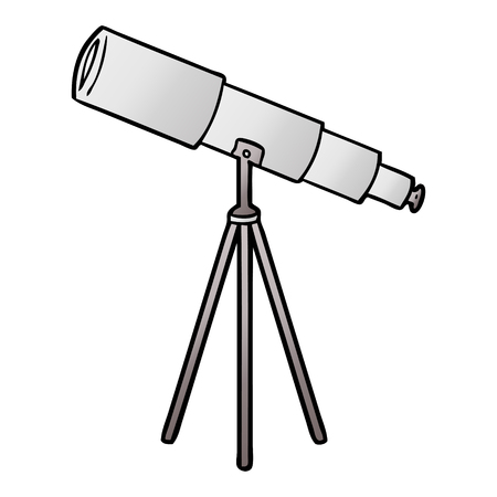 Hand drawn cartoon telescope
