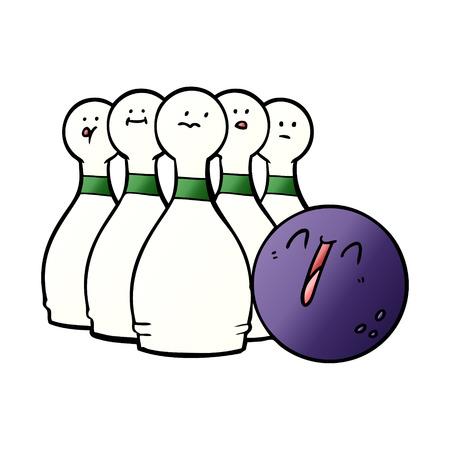 Cartoon laughing bowling ball and pins