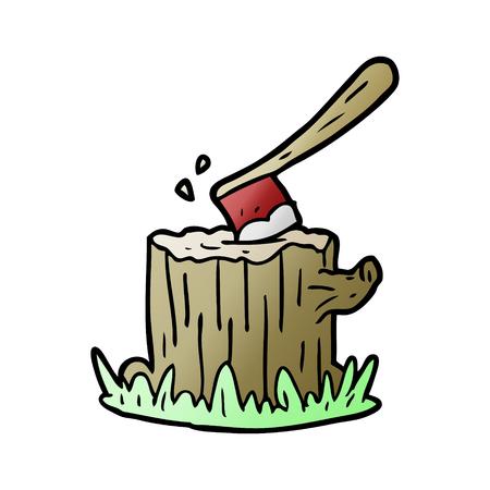 손으로 그린 만화 도끼 나무 그루터기에 갇혀 일러스트