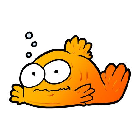 Hand drawn funny cartoon goldfish