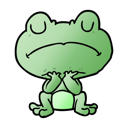 Cartoon frog waiting patiently Banque d'images - 95545134