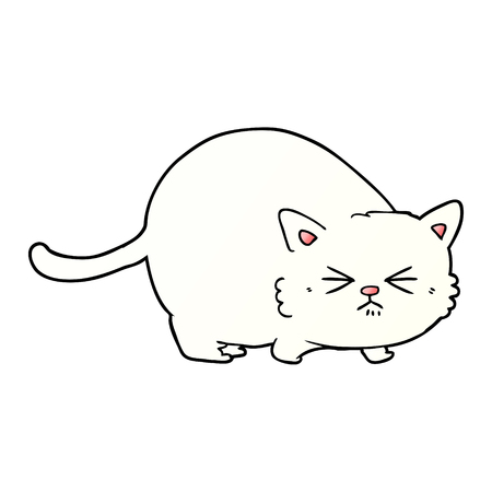 Hand drawn cartoon angry cat