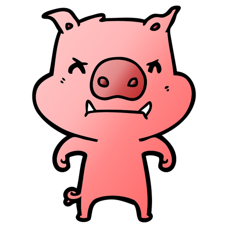 Hand drawn angry cartoon pig Illustration