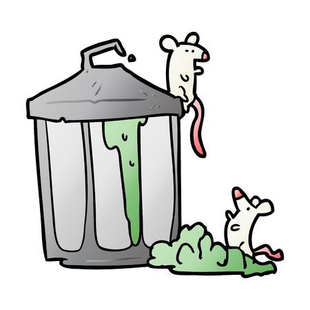 Cartoon old metal garbage can with mice Çizim