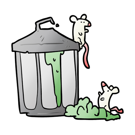 Cartoon old metal garbage can with mice Illustration