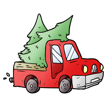 Cartoon pickup truck carrying christmas trees Ilustracja