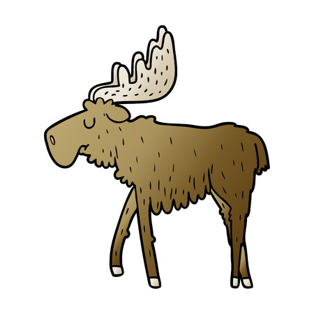 Hand drawn cartoon moose