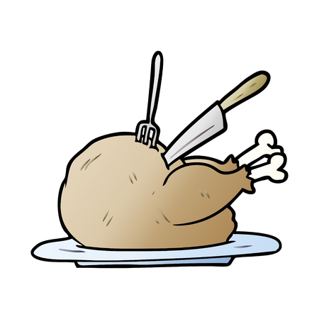 Hand drawn cartoon cooked turkey being carved Illustration