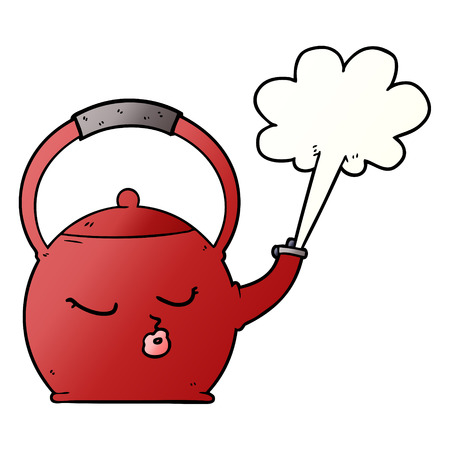 cartoon boiling kettle 일러스트