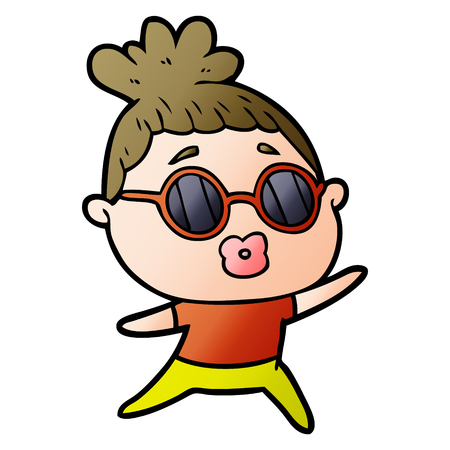 cartoon dancing woman wearing sunglasses