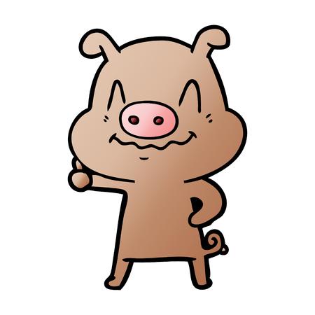 神経質な漫画豚  イラスト・ベクター素材