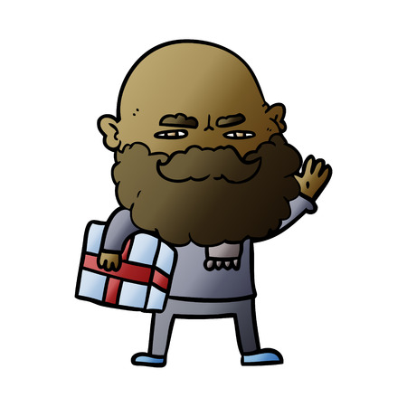 cartoon man with beard frowning with xmas gift Illustration